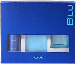 Ajmal Blu Gift Set for Men, 90ml PERFUME,90ml COLOGNE,200ml BODY DEODORANT