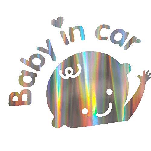 BUENNUS Laser Reflective Baby in Car Sticker, Car Window Stickers and Decals Universal Cartoon Baby Boy in Car Sticker Waterproof Car Rear Windshield Baby in Car Reminder Safety Sign Vinyl Decal