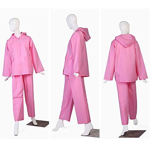 Herbruikbare Verdikte EVA Regenjas Portable Adult Hooded One-Piece Transparant Suit Non-Wegwerp Waterdicht Pak Geschikt Voor Outdoor Wandelen (2 Pack),Pink,XL