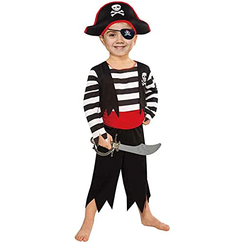 Children's Pirate Costume with Pirate Hat, Eyepatch,Pirate Cutlass Toddler 3T-4T