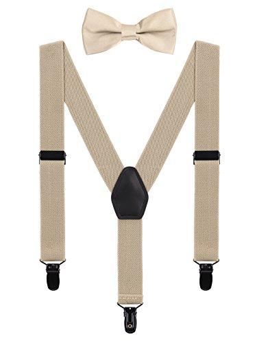 WANYING Baby Kleinkind Jungen Mädchen Hosenträger Fliege Set für 1-5 Jahre Kinder 3 Clips Y-Form Hosenträger Elastisch und Verstellbar - Beige