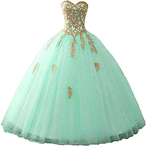 Adela Women's Sweetheart Beaded Quinceanera Dresses Tulle Princess Formal Evening Prom Ball Gowns AR127