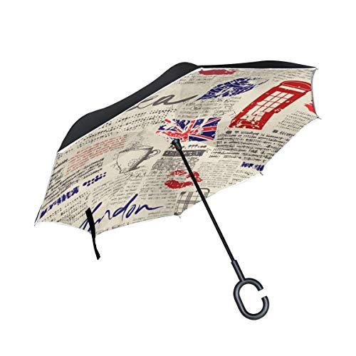 Vintage Zeitung Umgekehrter Regenschirm Regenschirm mit C-förmigem Griff für Autos Damen Herren