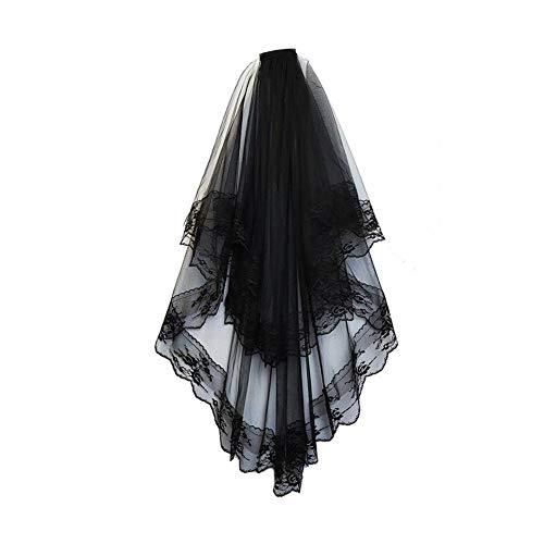 YaptheS Halloween Lace Veil Kreative Brautschleier Halloween Schleier mit 2-Schicht Schleier Wiederverwendbare Spitzenschleier für Frauen Hochzeit Halloween-Kostüm-Schwarz