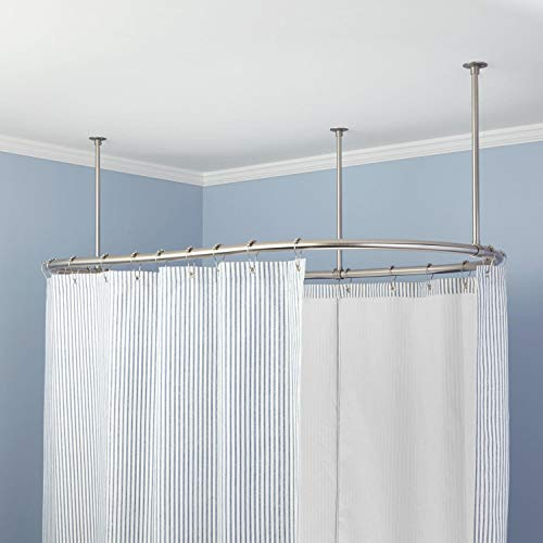 """Naiture Stainless Steel Oval Shower Curtain Rod with Ceiling Support in 48"""" L X 30"""" W, Brushed Nickel Finish"""
