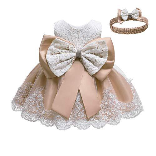 Baby Mädchen besticktes Bowknot Spitzenkleid Tüll Tutu Blume Prinzessin Festzug Brautjungfer Hochzeit Geburtstag Party Ärmelloses Kleid Baby Taufe Kleid + Stirnband Gr. 86, aprikose