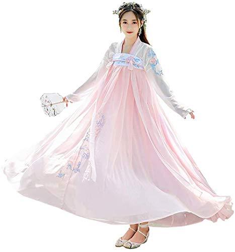 OKZH Hanfu Chino Mujer Antiguo Chino Hanfu Traje Tradicional Elegante Para Mujer Disfraz De Cosplay Ropa De Vestir Polvo Blanco Grande