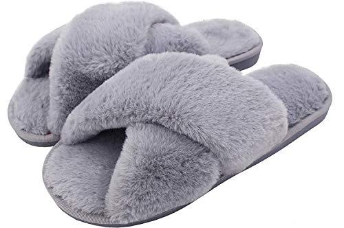 Zapatillas de Estar por Casa de Mujer Pantuflas de Felpa Sandalia Antideslizante para Mujer Zapatos Cruz Suave Puntera Abierta para Interiores y Casa, 328 Gris 38/39 EU