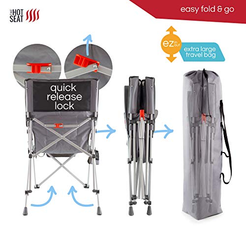 POP Design The Hot Seat, Heated Portable Chair, Perfect for Camping, Sports, Beach, and Picnics. USB Heated, X-Large Armrests, X-Large Travel Bag, 5 Pockets, Cup Holder (Battery Pack NOT Included)