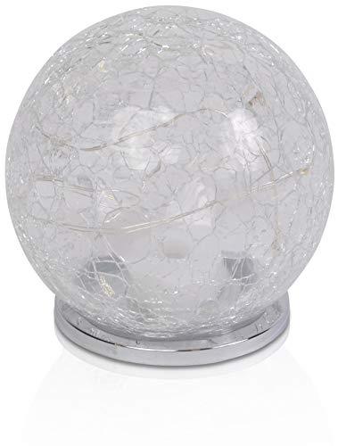 CHICCIE Glaskugel mit LED Lichterkette - Leuchtkugel Deko Ø ca. 10cm 1x CR2032 Batterie
