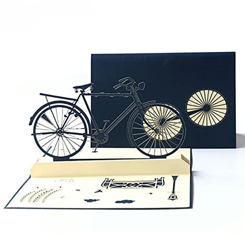 DDyna Biglietto di Auguri, Biglietto di Auguri per la Festa del papà Cartolina 3D Stereo per Bicicletta retrò Biglietto di Auguri di Carta Origami Fatto a Mano retrò