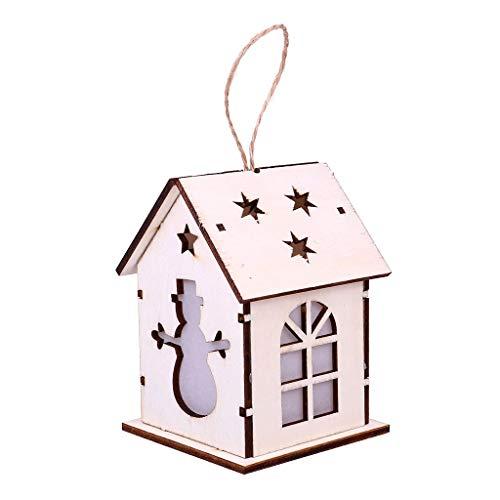 Xbeast Weihnachten Wohnkultur Weihnachtsschmuck Geschenk Hänge Dekorationen LED Holzhaus Beleuchtet Home Hänge Dekorationen