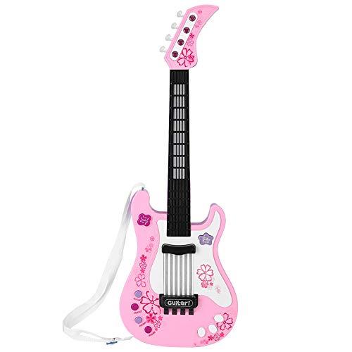 VGEBY1 Juguete para Guitarra, Bajo Multifuncional Juguete para Instrumento de Guitarra con Luz para Niños Bebé (Rosado)