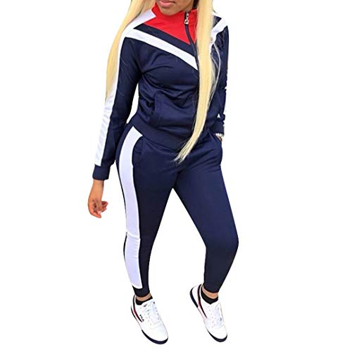 Two Piece Outfits for Women Jogging Suits Sets Long Sleeve Sweatsuits and Skinny Jogger Pants Color Block Workout Tracksuit Blue