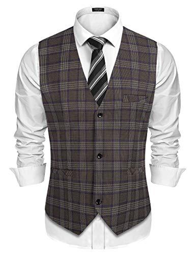 COOFANDY - Chaleco de traje para hombre a cuadros, chaleco, sin mangas, sakko Blazer Slim Fit, traje de hombre para fiestas y bodas caqui S