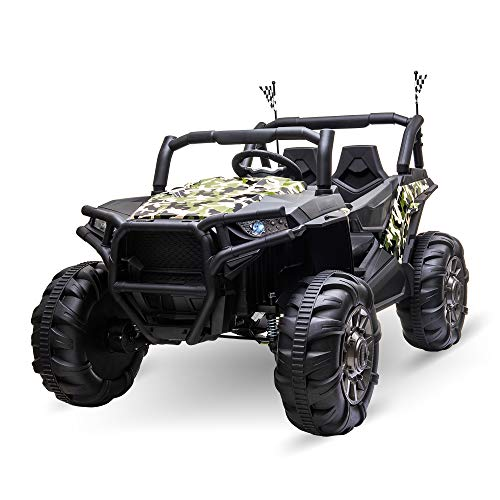 Aosom 12V 2-Seater Kids Electric Ride-On Car Off-Road UTV Truck Toy with Parental Remote Control & 4 Motors, Camo Green