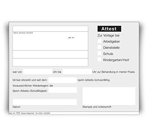 Multi-Attest/Attest Block | 2 Blöcke | von MEYER-WAGENFELD: Agentur & Druckerei für Ärzte | DIN A6 Format | zu je 100 Blatt geblockt