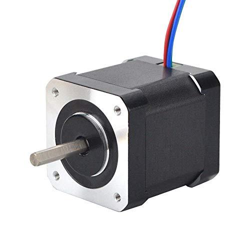 STEPPERONLINE Nema 17 Schrittmotor Volle D-Cut-Welle Bipolar 0,9 Grad 46Ncm 2A 42x48mm 4 Drähte für 3D DRUCKER/CNC-Fräse