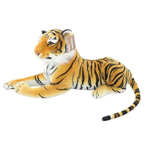 JESONN Realistic Big Stuffed Animals Tiger Plush Cat Toys 23.6 Inch (Brown)
