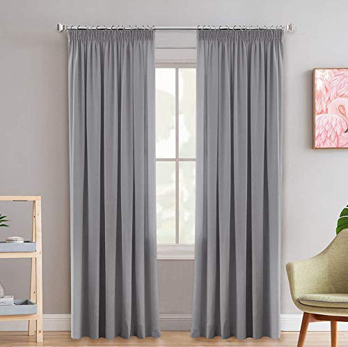 2 Pieces Blackout Pencil Pleat Curtain Panels Light Blocking Grey Curtains for Bedroom Thermal Insulated Energy Saving Window Treatment for Living Room, with Two Tiebacks - 66' Width x 90' Drop