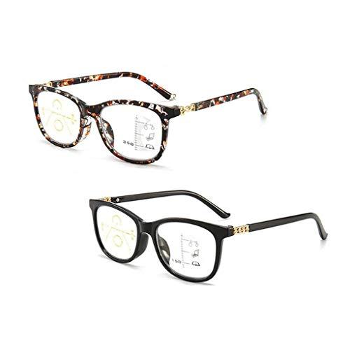 2 stukken Blauw licht blokkerende leesbril Pocket gedrukt veerscharnier met vergroting Instelbare binnenbreedte Leesspiegel voor ouderen Geschikt voor dames,+ 3.0
