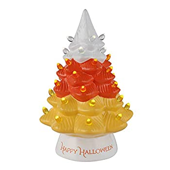 Mr Halloween 12  Ceramic Tree with Candy Corn Topper Halloween Décor Orange