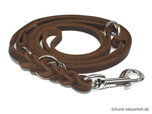 Lederleine Hund 3-Fach verstellbar geflochten, braun verchromt Fettleder Führleine (3m x 10mm)