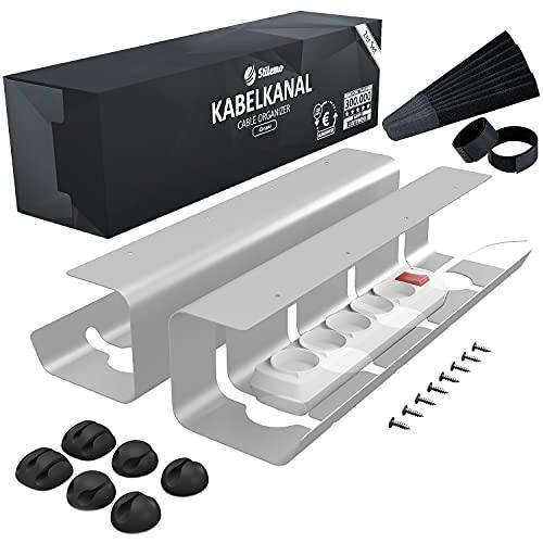 Bandeja organizador cables escritorio de Stilemo - Juego de 2 Bandejas Gestión de cable Ultra Resistente, Soporta 5kg - Mantener los cables ordenados - Diseño minimalista para Oficina (Gris)