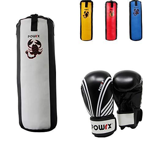 POWRX Boxset für Kinder Jugendliche I Boxsack + Boxhandschuhe I 2, 2,5 und 3 Fuß (2,5 Fuß (weiß/schwarz))
