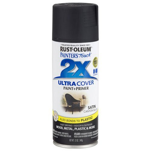 Rust-Oleum 249844 Painter's Touch 2X Ultra Cover, 12 Oz, Satin Canyon Black