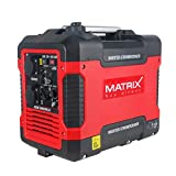 Matrix 160100032 Inverter Stromerzeuger, Stromgenerator Benzin leise, 4 takt, 2000 Watt, für Camping und Garage rot, schwarz