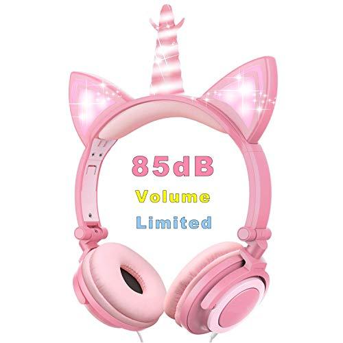 VERORAS Einhorn Kinder Kopfhörer, Leuchtende Katze Ohr LED-Kopfhörer am/über dem Ohr, Wired, Adjustable, Faltbares, 85dB Volume Limited (Rosa Blütenblatt Einhorn)