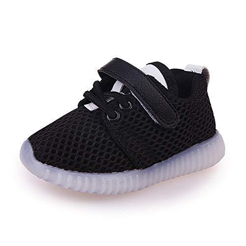 GUOYIHUA Neue Sommer Kinder Schuhe LED Mädchen Mesh Glänzend Schuhe Jungen Licht Sport Schuhe Baby Flash Schuhe, Schwarz , 21