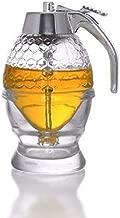 Hunnibi Honey Dispenser Pot, Acrylic No Drip Syrup Dispenser with Coaster