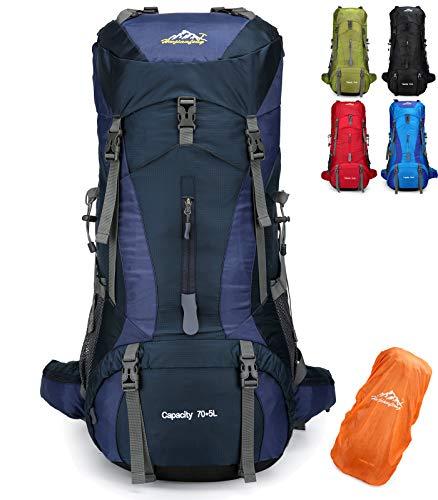 Doshwin 70L Zaino da Campeggio Trekking Escursionismo Viaggio (con Parapioggia) (Blu Scuro)