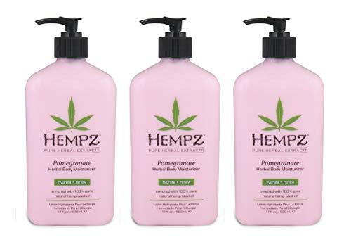 Hempz Pomegranate Herbal Body Moisturizer, Light Pink, 17 Oz Pack Of 3, 17 Oz