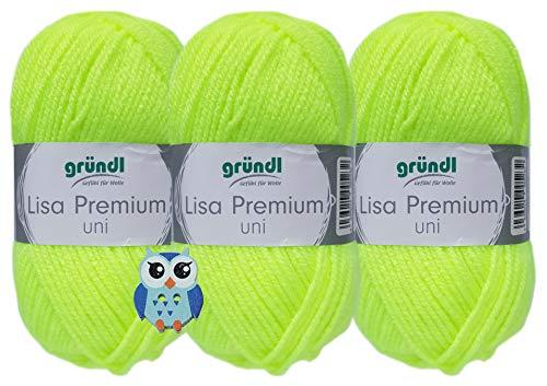 3x50 Gramm Gründl Lisa Uni aus 100% Polyacryl Häkelgarn Schulgarn + 1 Eulen Knopf (27 Neon Gelb)