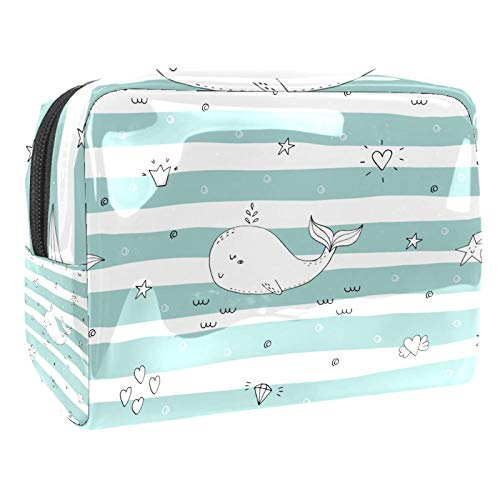 Bolsa de tocador de Viaje Estrella de Diamante de delfín portátil PVC Bolsa de cosméticos de Vistoso de Organizador de Maquillaje con Cremallera Apto para niñas 18.5x7.5x13cm