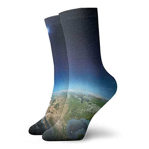 Calcetines suaves de longitud media de pantorrilla, continente de América del Norte en globo terráqueo, vista realista, calcetines para mujeres y hombres, ideales para correr