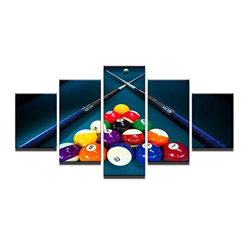 HGKJDL 5 Leinwandbilder HD gedruckte modulare Leinwand Poster 5 Panels Snooker Pool Bild Wandkunst Wohnzimmer Home Decor Sport Billard Bilder