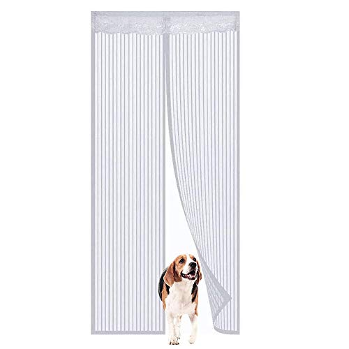 CHICTI Magnet Fly Screen Door White, Magnetic No Noise Closure Automatically Doorway Mosquito Net Bug Mesh, for The Fishing Boat/Farm, Let Fresh Air in (Size : 120x220cm/47x87in)