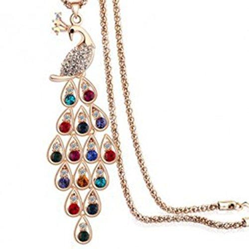 Presp Frauen Bunt Peacock Princess Kristall Lange Strickjacke-Kette Halskette Gold-Anhänger-Halskette