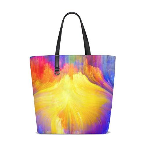 XiangHeFu Bolsos de mujer Bolso de hombro de tela de poliéster con cortina de luz de arco iris