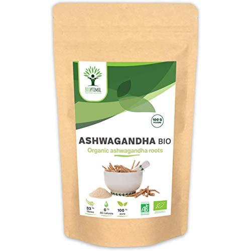 Organic Ashwagandha - Bioptimal - Uztura bagātinātājs - Organic Ashwagandha pulveris - Superfood - Kondicionēts Francijā - Ecocert sertificēts - 100g