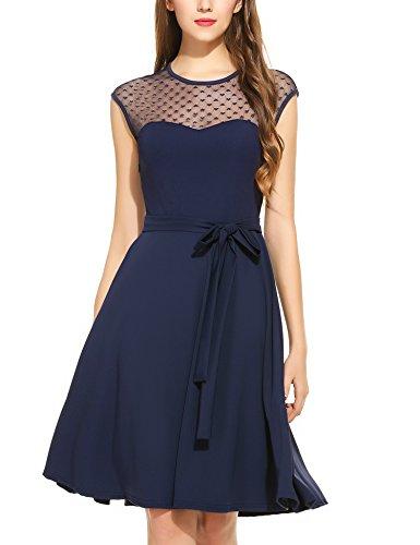 Zeagoo Damen Vintage 50er Jahr Rockabilly Kleid Swing Cocktailkleid Abendkleid Elegantes Kleid, Dunkelblau, Gr.- 46 EU/ 2XL