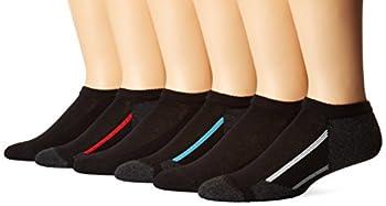 Hanes Big Boys  6 Pairs No Show Socks,Black,Large 3-9