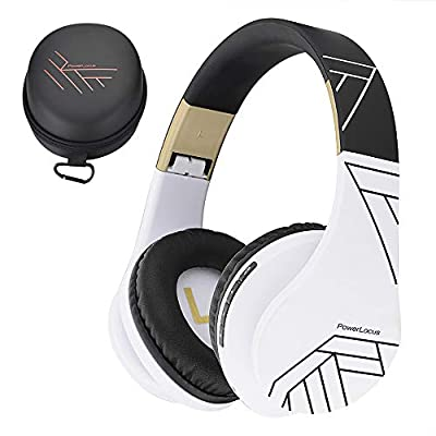 PowerLocus Bluetooth Over-Ear Headphones, Wireless Stereo Foldable Headphones Wireless and Wired Headsets with Built-in Mic, Micro SD/TF, FM for iPhone/Samsung/iPad/PC (Black/White) by PowerLocus