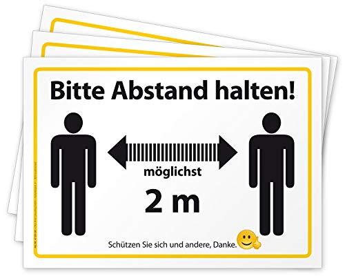 3 Aufkleber Bitte Abstand halten Hinweis-Schild für Einzelhandel und Behörden, Folie selbstklebend DIN A4 (297 x 210 mm) groß