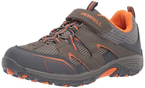 Merrell Kids' Unisex M-Trail Chaser Sneaker, Gunsmoke/Orange, 1 M US Little Kid