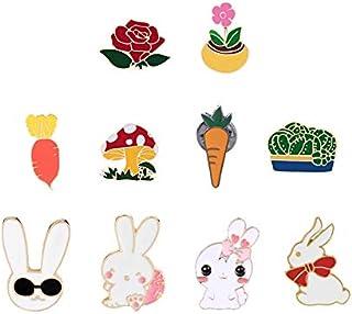 Lindo conejito conejo zanahoria flor alfileres esmaltados broches chaquetas abrigo bolsa sombrero cuello de metal pin de s...